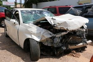 Wrecked car after it was involved in a bad accident