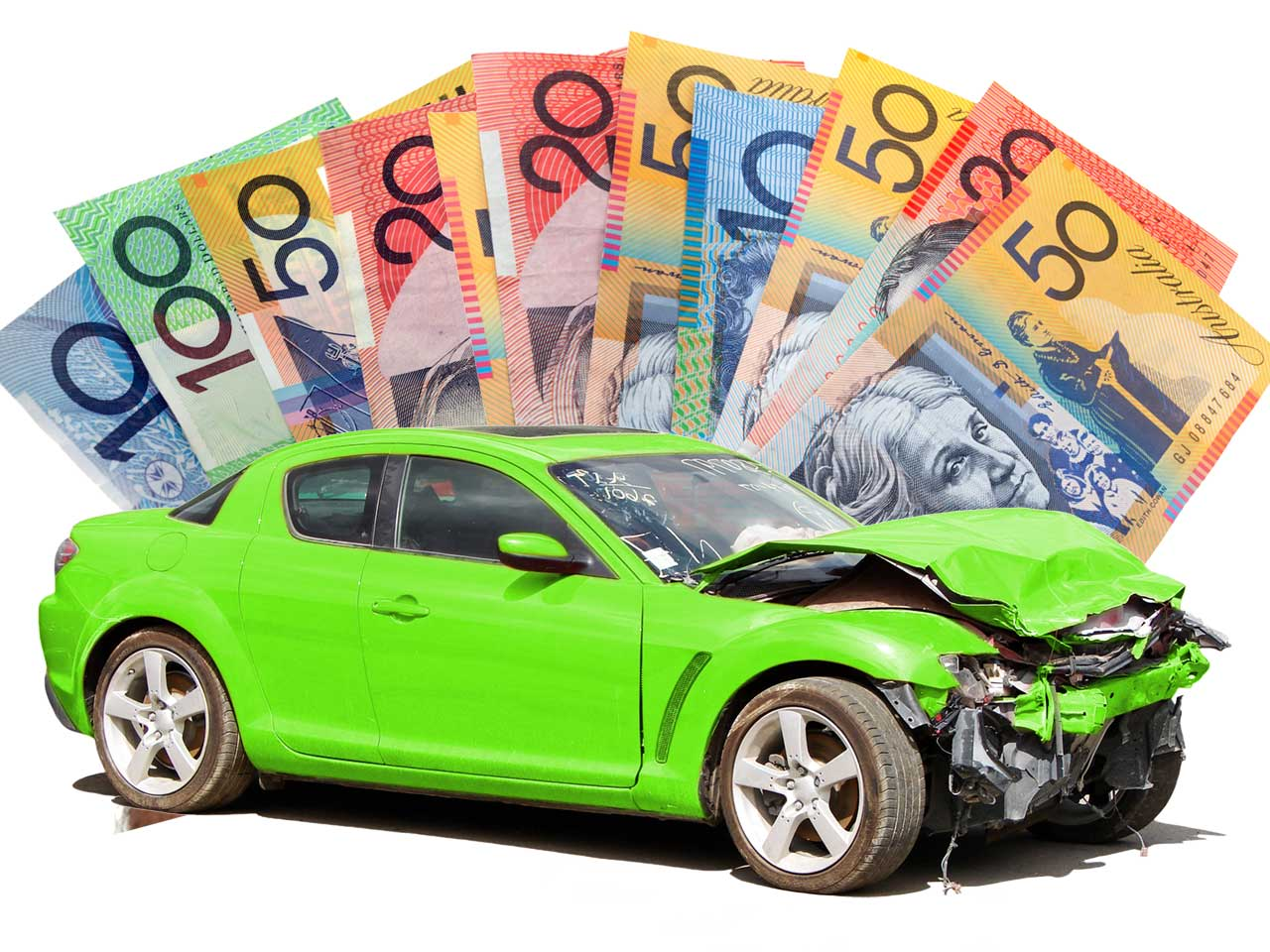 Australian dollar bills and a wrecked green car